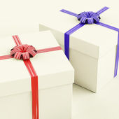 Gift Boxes With Blue And Red Ribbons As Presents For Him And Her — Photo