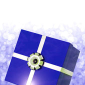 Blue Giftbox With Bokeh Background For Mens Birthday — 图库照片