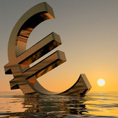 Euro Sinking And Sunset Showing Depression Recession And Economi — Stock Photo