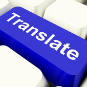 Translate Computer Key In Blue Showing Online Translator — Stock Photo