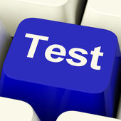 Test Computer Key In Blue Showing Quiz Or Online Questionnaire — Stock Photo