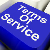 Terms Of Service Computer Key In Blue Showing Website Agreement — Stock Photo