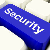 Security Computer Key In Blue Showing Privacy And Safety — Stock Photo