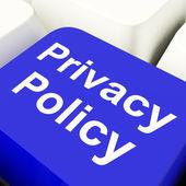 Klucz komputera polityki prywatności w kolorze niebieskim, wyświetlone dane firmy ochrony — Zdjęcie stockowe