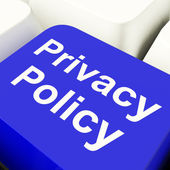 Privacy Policy Computer Key In Blue Showing Company Data Protect — Stock Photo