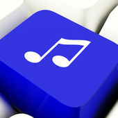 Music Symbol Computer Key In Blue Showing Online Radio Or Audio — Stock Photo