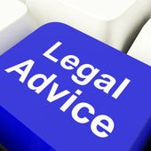 Legal Advice Computer Key In Blue Showing Attorney Guidance — Stock Photo