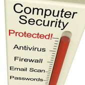 Segurança de computador protegido medidor mostra laptop interet segurança — Foto Stock
