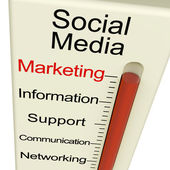 Social Media Marketing Meter Shows Information Support And Commu — Stockfoto
