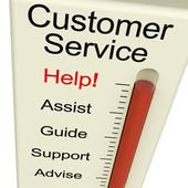Customer Service Help Meter Shows Assistance Guidance And Suppor — Stock Photo
