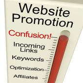 Website Promotion Confusion Shows Online SEO Strategy And Develo — Stock Photo