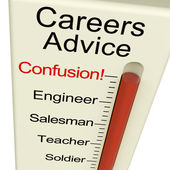 Careers Advice Monitor Confusion Shows Employment Guidance And D — Stock Photo