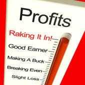Zysków bardzo wysoki, wyświetlono: wzrost sprzedaży i przychodów — Zdjęcie stockowe