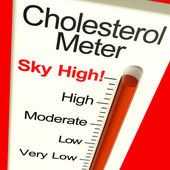 Cholesterol Meter High Showing Unhealthy Fatty Diet — Stock Photo