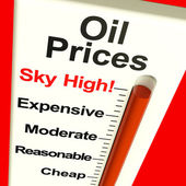 Oil Prices High Monitor Showing Expensive Fuel Costs — Stock Photo
