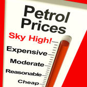 Petrol Prices Sky High Monitor Showing Soaring Fuel Expenses — Stock Photo