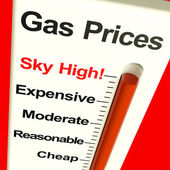 Gas Prices Sky High Monitor Showing Soaring Fuel Expenses — Stock Photo