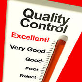 Quality Control Excellent Monitor Showing Satisfaction And Perfe — Stock Photo