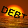 Debt Word Sinking Showing Bankruptcy Poverty And Being Broke — Stock Photo #9105685