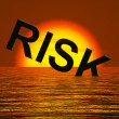 Risk Word Sinking In The Sea Showing Uncertainty — Stock Photo