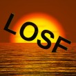 Lose Word Sinking Representing Defeat And Loss — Stock Photo