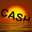 Stock Photo: Cash Sinking And Sunset Showing Depression Recession And Economi