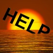 Help Word Sinking As Symbol For Needed Support — Stock Photo