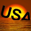 Royalty-Free Stock Photo: Usa Word Sinking As Symbol for American Problems