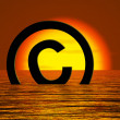 Stock Photo: Copyright Symbol Sinking Meaning Piracy Or Infringement
