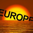 Stock Photo: Europe Sinking And Sunset Showing Depression Recession And Econo