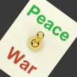 图库照片: Peace War Switch Showing No Conflict Or Aggression