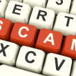 Scam Computer Keys Showing Swindles And Fraud - ストック写真