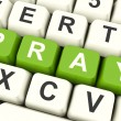 Stock Photo: Pray Computer Keys Showing Worship And Religion