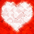 Heart With Red Bokeh Background Showing Love Romance And Valenti — Stock Photo