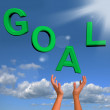 Goals Letters Falling Showing Objectives Hope And Future — Stock Photo