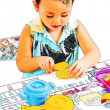 Child Playing At Cooking With Toy Kitchen Set — Stok fotoğraf