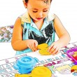 Child Playing At Cooking With Toy Kitchen Set — Stock Photo