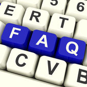 FAQ Computer Keys In Blue Showing Information — Stock Photo
