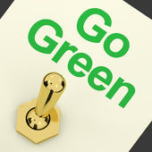Go Green Switch Showing Recycling And Eco Friendly — 图库照片