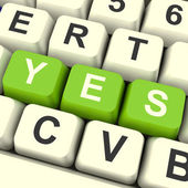 Yes Computer Keys Showing Approval And Support — Stock Photo