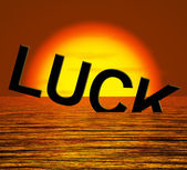 Luck Word Sinking Showing Unlucky And Misforture — Stock Photo