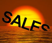 Sales Word Sinking Showing Reduced Income And Profit — Stock Photo