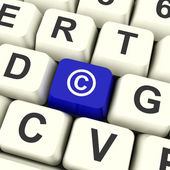 Copyright Blue Computer Key Showing Patent Or Trademark — Stock Photo