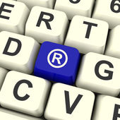 Registered Computer Blue Key Showing Patent Or Trademark — Stock Photo