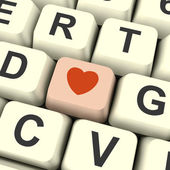 Heart Icon On Pink Computer Key Showing Love And Romance For Val — Stock Photo