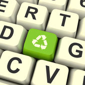 Recycle Icon Green Computer Key Showing Recycling And Eco Friend — Stock Photo