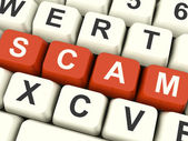 Scam Computer Keys Showing Swindles And Fraud — Stock Photo