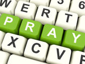Pray Computer Keys Showing Worship And Religion — Stock Photo