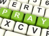 Pray Computer Keys Showing Worship And Religion — Stock Photo