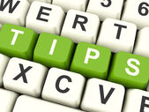 Tips Computer Keys Showing Hints And Guidance — Stock Photo